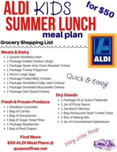 Check out a complete 50 meal plan to make over a weeks worth of healthy ALDI summer lunches for your kids Most require less than 20 minutes of prep Frugal Meals, Cheap Meals, Budget Meals, Kids Meals, Freezer Meals, Cheap Food, Family Meals, Inexpensive Meals, Budget Recipes