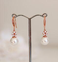 Pearl Bridal Earrings Rose Gold Bridal Earrings Pearl Drop