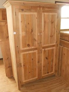 """ANTIQUE AMISH HANDMADE UNFINISHED RECLAIMED BARN WOOD ARMOIRE /TV CABINET 72""""H #Handmade #Country   i have one shown that will be in the room on the right in the back with the corner desk this one will be in the bedroom on left side both with ICE units and another one upstairs when we install the elevator I want many of them in basement"""