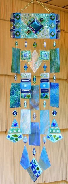 Kirks Glass Art Fused Stained Glass Wind Chime windchimes - The Blues by martha