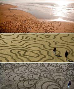 Incredible sand drawings
