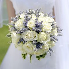 wedding flower bouquet white rose and lavender - Google Search