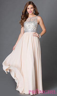 Sleeveless Floor Length Prom Dress with Jewel Embellished Sheer Bodice at PromGirl.com