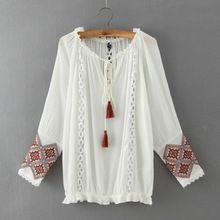 2015 Quality Long Sleeve Shirt Women Blusas De Verao Roupas Embroidery Kimono White Camicia Donna Camisetas Y Tops Tunique Femme(China (Mainland))