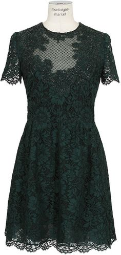 Valentino Green and Black Embroidered Lace and Tulle Dress - Lyst