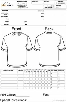 35 Awesome T Shirt Order Form Template Free Images Projects To Try