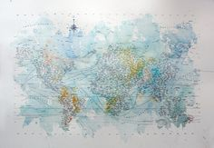 letterpress typographic map of the world by Nancy McCabe