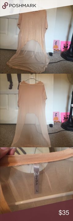 Peach tshirt with see through long back. A high low tshirt with a completely sheer back and train. Worn once to an event. It's definitely a statement top! Tons of compliments! ZINGA Tops Tees - Short Sleeve