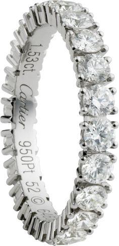 Cartier. Classic wedding band, platinum 950‰, set with 22 brilliant-cut diamonds totaling 1.34 carats.
