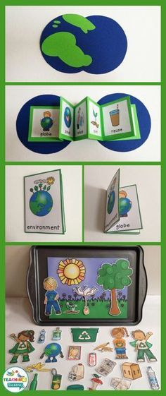 Earth Day Vocabulary Activities - Use this resource with your preschool, Kindergarten, or 1st grade classroom or home school students. It's great for your vocabulary or speech therapy lessons. You get a craftivity, foldable, mini books, write the room, counting syllables, and an interactive vocabulary scene. Use this during the month of April during your Earth Day studies, unit, or lesson plans! {preK, K, first graders} via @teachingtalkingSLP #homeschoolingroom #earthdayactivties