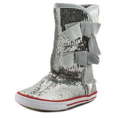 "Volatile Girls Shimmer Sneaker Boots (10 Toddler, Silver). The style name is Shimmer. The style number is SHIMMER-SLV. Brand Color: Silver (Main Color: Silver). Material: Sequin. Measurements: Shaft measures 9"", Circumference measures 11"" and 0.75"" heel. Width: M (T)."