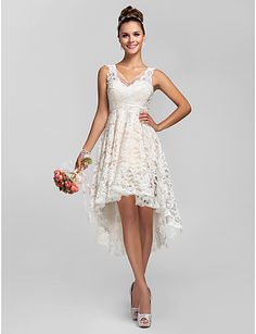 A-line/Princess V-hals Asymmetrische Lace bruidsmeisje jurk - EUR € 73.99