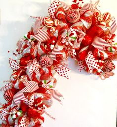 Gorgeous Candy Cane Deco Mesh Wreath by ArtificialWreaths on Etsy, $150.00