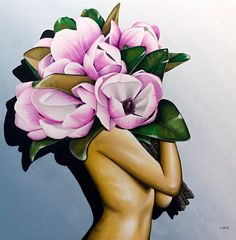 Pink Magnolias Acrylic Painting On Canvas 100x100cm Original Laural Retz Painting featuring a female torso holding large pink magnolia flowers.