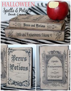 DIY Spell and Potion Book Printables from Crafty Cupboard. (Halloween Crafts from True Blue Me and You) Diy Halloween Book Covers, Halloween Spell Book, Witch Spell Book, Halloween Spells, Halloween Apothecary, Halloween Signs, Holidays Halloween, Vintage Halloween, Halloween Crafts