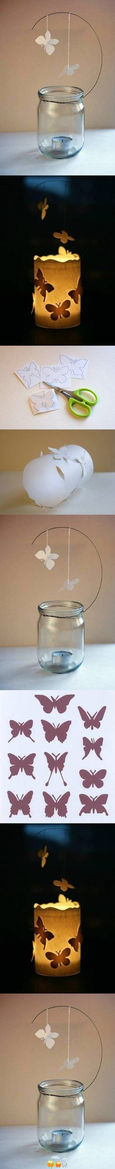 Butterflies on and above jar candle holder