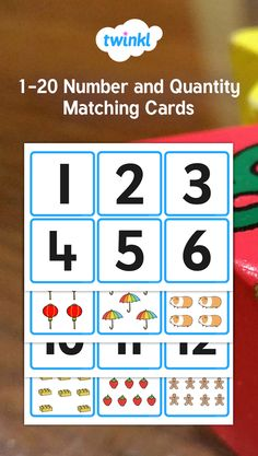 Help your children count to 20 using these colourful matching cards. Each pair features the number on one half and the corresponding number of objects on the other for your little learners to match together. Maths Resources, Math Activities, Preschool Math, Kindergarten Math, Math Games For Kids, Early Math, Number Games, School Worksheets, Matching Cards