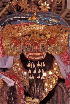 Indonesia, bali, small temple, ceremony, barong dance mask