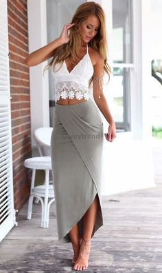 Complete Maxi Set. Lace Crop Top match with Gray Maxi Skirt. Perfect outfit when heading to the beach/ beach party.