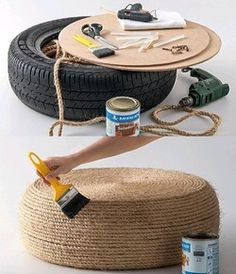 Recycle old tyre into an ecological puff!