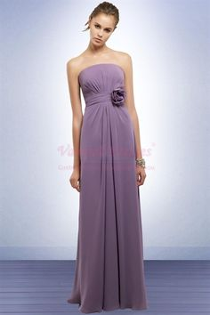 My Maid of Honour's dress!!!  Stylish Lilac Chiffon Strapless Floral Bridesmaid Dresses Formal Gown