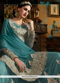 Conspicuous Turquoise Embroidered Work Net Designer Palazzo Salwar Kameez