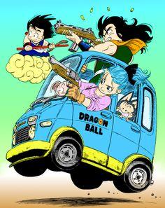 Dragonball Bulma, young Goku, Yamcha, Puar and Oolong