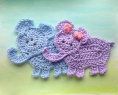 Two crochet elephant appliques Noahs ark animal applique
