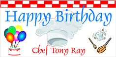 Chef Cooking Party Personalized Banner by www.bannergrams.com