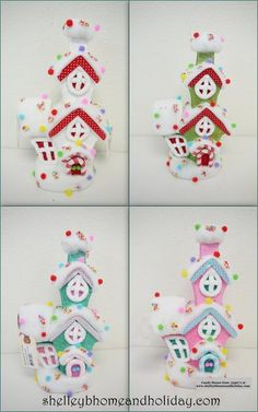 Candy Christmas decorations, 11.5 Inch Candy House, blue candy house, pink candy house, Shelley B Home and Holiday
