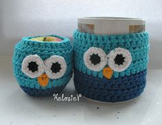 ...Cute owl cozy...I know somebody who needs these! #crochet_inspiration