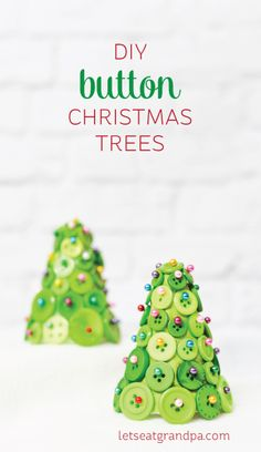 Buttons, straight pins, and foam cone equal an adorable and easy-to-make Christmas tree!  A fun craft project to make your holidays more special.