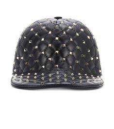 Rockstud Quilted Leather Baseball Cap - Green Valentino NWpAjC