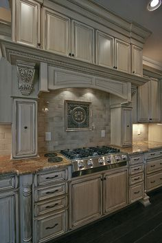 Timberland Cabinetry Company in Spring Hill, TN offers high-quality kitchen cabinets at affordable prices. We work with local clients and nationwide dealers, providing beautiful, functional cabinetry. Distressed Kitchen Cabinets, Cream Kitchen Cabinets, Kitchen Cabinet Design, Interior Design Kitchen, Antique White Cabinets Kitchen, Gray Stained Cabinets, Elegant Kitchens, Luxury Kitchens, Beautiful Kitchens
