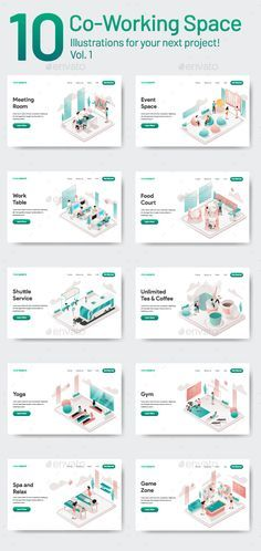 Buy 10 Co-Working Space Illustrations Vol 1 by TanahAirStudio on GraphicRiver. 10 Co Working Space Illustration Vol 1 Set of modern flat design concept. Office Space Design, Workspace Design, Working Space Design, Coworking Space, Space Illustration, Illustrations, Space Interiors, Co Working, Space Architecture