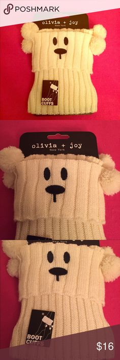 ONLY 1! Olivia + Joy Critters Boot Cuffs Authentic Olivia + Joy Critters Boot Cuffs. Dog or Polar Bear! You Choose.  Women. Also Tweens & Teens. OS. Off-White with Black Embroidery Details. 100% Acrylic. Brand New. Excellent Condition. No Trades. See other Olivia + Joy listings in my closet.  Olivia + Joy Accessories Hosiery & Socks