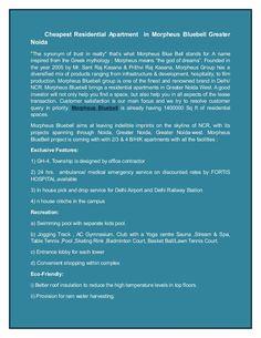 Cheapest Residential Apartment  in Morpheus Bluebell Greater Noida by realityinfrastructure via slideshare