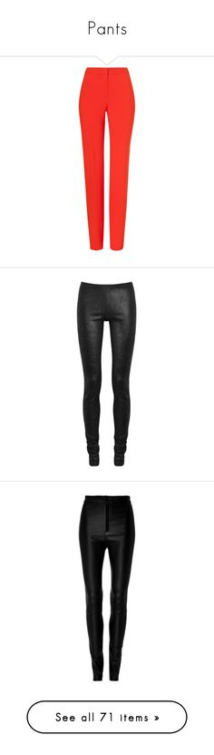 """Pants"" by madedinorog ❤ liked on Polyvore featuring pants, trousers, gladiola, red pants, escada pants, straight leg pants, red trousers, escada, leggings and leather pants"