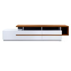 Do you think Frank Lloyd Wright would be more impressed by the Bellini Modern Living Walter TV Stand - White Gloss / Light Walnut or the TV that sits. Tv Unit Interior Design, Tv Unit Furniture Design, Tv Furniture, Tv Wall Design, Large Furniture, Living Tv, Modern Living, Minimalist Living, Living Rooms