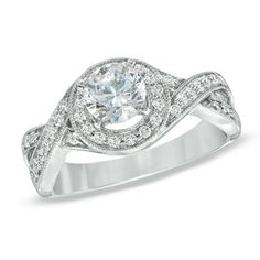 Celebration 102™ 1 CT. T.W. Diamond Twist Frame Engagement Ring in 18K White Gold (I/SI2) - Zales