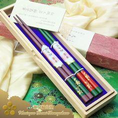 Kaen Wajimanuri Honkin (Gold) Maki-e Harukaze Sakurazaka (spring wind sakura sloping road) deep green & purple (two pairs) with Paulownia Box
