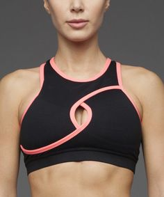 This Black & Pink Keyhole Sports Bra is perfect! #zulilyfinds