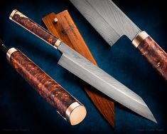 maker: Ian Rogers (Haburn Knives) website: haburnknives.com -Kiritsuke & saya -273mm of edge, 290mm tip to bolster -616 layers of 52100/15N20, asymmetric, really drawn out feather - I wanted it to look a bit like an estuary. -Feather mokume-gane (copper/nickel silver) bolster, butt cap, and saya keeper pin -Exhibition grade, two-tone rosewood burl -Cocobolo saya  #calebroyerphotography #knife #knifemaking #knives #customknives #handmadeknives #knifecommunity #handmade #knifeart #knifepi