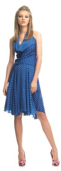 Blau gepunktetes Kleid von Fornarina. Kollektion 2013 Gown Dress, Curve Dresses