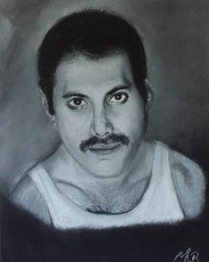 Pastel portret A3 formaat Freddie Mercury, A3, Pastel, Portrait, Cake, Men Portrait, Portraits