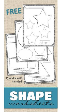 FREE Shape Worksheets - help kids practice making shapes and learning their names with these 13 free printable trace the shape worksheets. Includes extension ideas for tactile learning and younger students - perfect for toddler, preschool, prek, kindergar Free Preschool, Preschool Printables, Preschool Lessons, Preschool Classroom, Preschool Learning, Preschool Activities, Toddler Preschool, Preschool Shapes, Daycare Curriculum