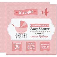 Cute Girly Retro Baby Girl Shower personalised 13 Cm X 13 Cm Square Invitation Card
