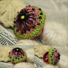Bague textile en coton crocheté ref 013