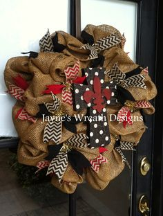 Burlap Wreath with Cross, Natural, Black, & Red Chevron Ribbon