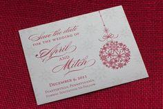 Festive winter wedding invitation by http://alhdesigns.com
